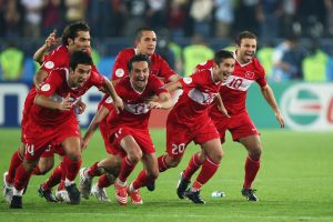 Turkey players celebrate after winning penalty shoot out during the UEFA EURO 2008 Quarter Final match between Croatia and Turkey.