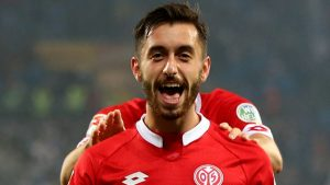 Yunus Malli celebrates scoring a goal for FSV Mainz in the Bundesliga