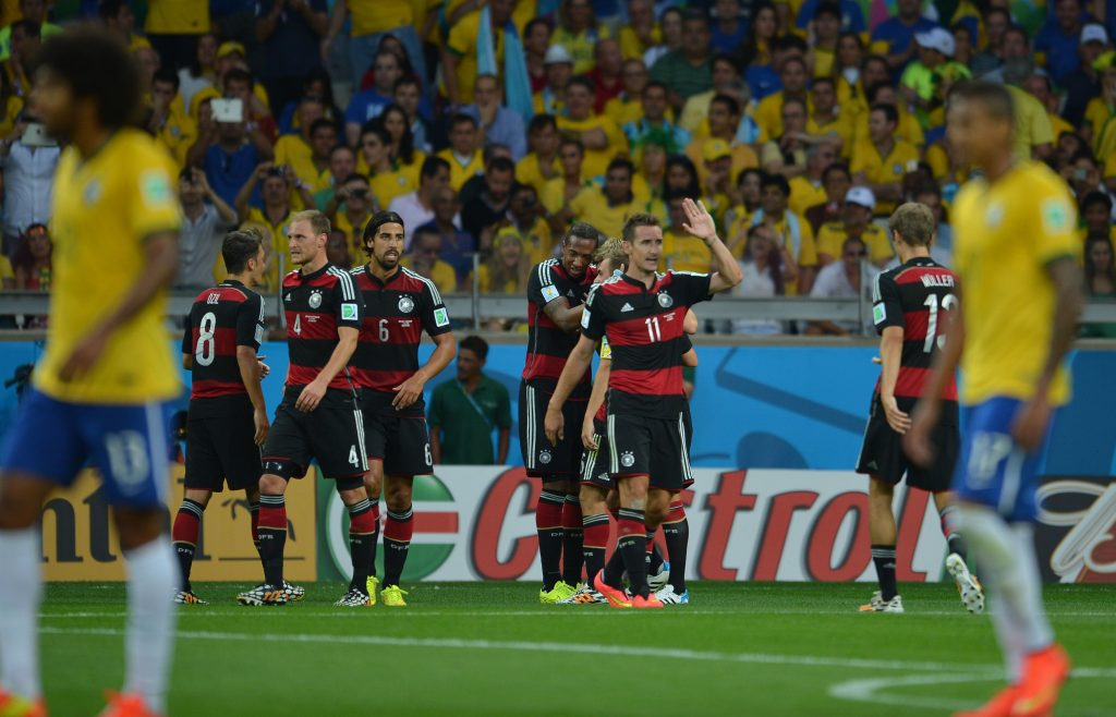 Germany players celebrate Mirsolav Klose scoring against Brazil in the 2014 World Cup semi-final