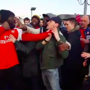 Arsenal fans brawl over their contrasting opinions after their FA Cup exit