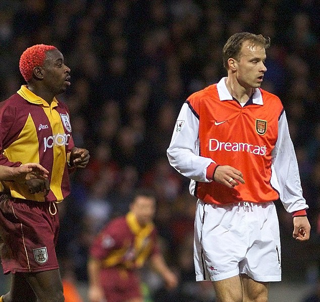 Red haired Jamie Lawrence up against Arsenal Dennis Bergkamp at Valley Parade