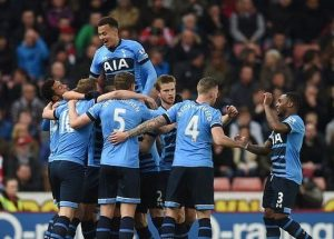 Tottenham Hotspur players celebrate a goal during their 4-0 victory over Stoke City