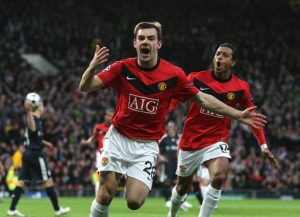 Darron Gibson of all people scored for Manchester United but it wasn't enough to see his side through to the next round
