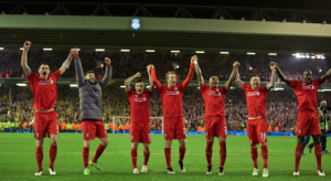 Liverpool thank their fans for the support at the end of the game