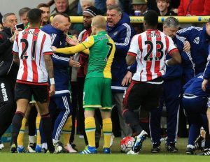 Norwich City and Sunderland players clash, with Liz's new man crush Sam Allardyce in the centre of the confrontations