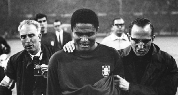 Eusebio leaves the pitch in tears after Portugal were eliminated from the 1966 World Cup
