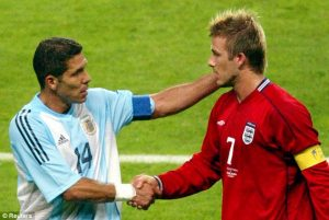David Beckham was sent-off for kicking Simeone during the 1998 World Cup