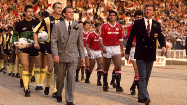 Steve Coppell leads out his Palace team alongside Alex Ferguson in the warm evening sunshine for the 1990 FA Cup Final