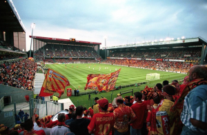 RC Lens fans cheer on their team in the Stade Bollaert-Delelis