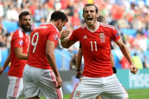 Bale celebrates Hal Robson-Kanu's winner against Slovakia in Group B