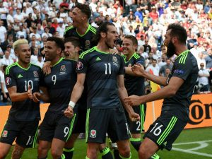 Gareth Bale celebrates his second goal of the tournament