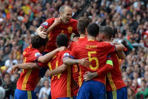 Spain celebrate another goal against Turkey