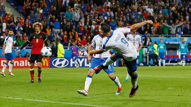 Graziano Pelle's volley sealed Italy's 2-0 win over Belgium