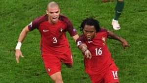 Renato Sanches celebrates scoring Portugal's equaliser