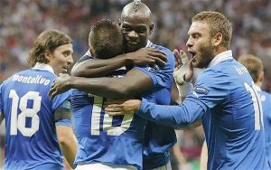 Balotelli scored twice as Italy overcame Germany in the Euro 2012 semi-finals