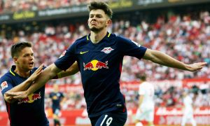 Oliver Burke celebrates scoring his first goal for the club against FC Koln