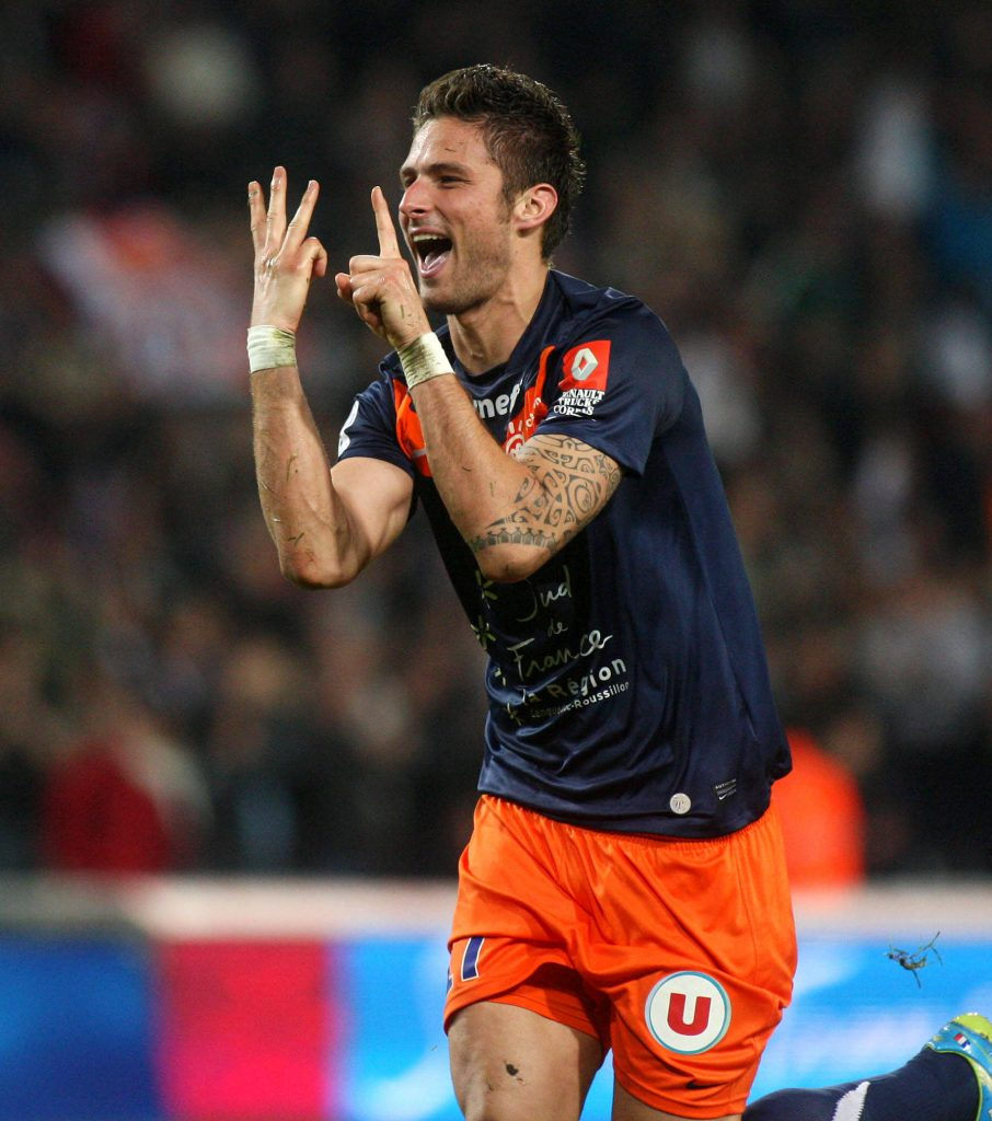 Giroud scored 33 times in a two year spell at Montpellier before joining Arsenal in 2012